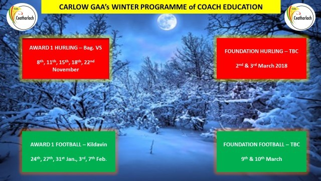 Winter Programme Coach Ed. 2017,2018