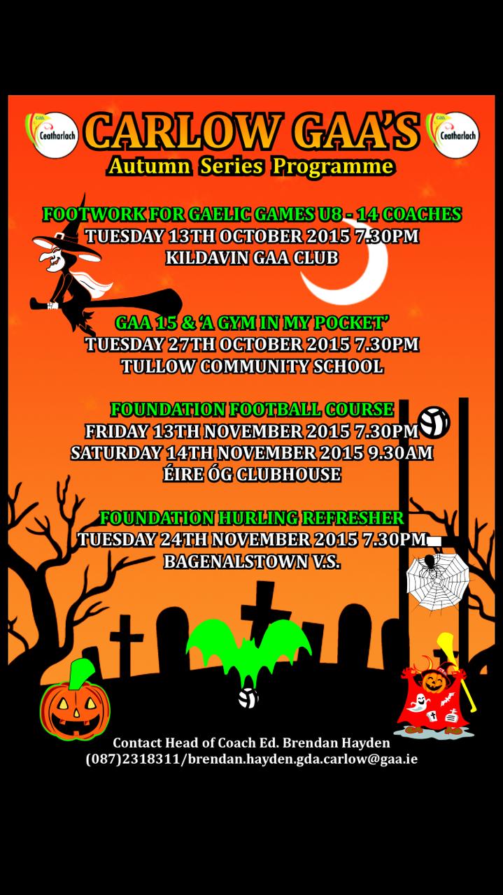 Halloween Coach education in tullow cs tuesday