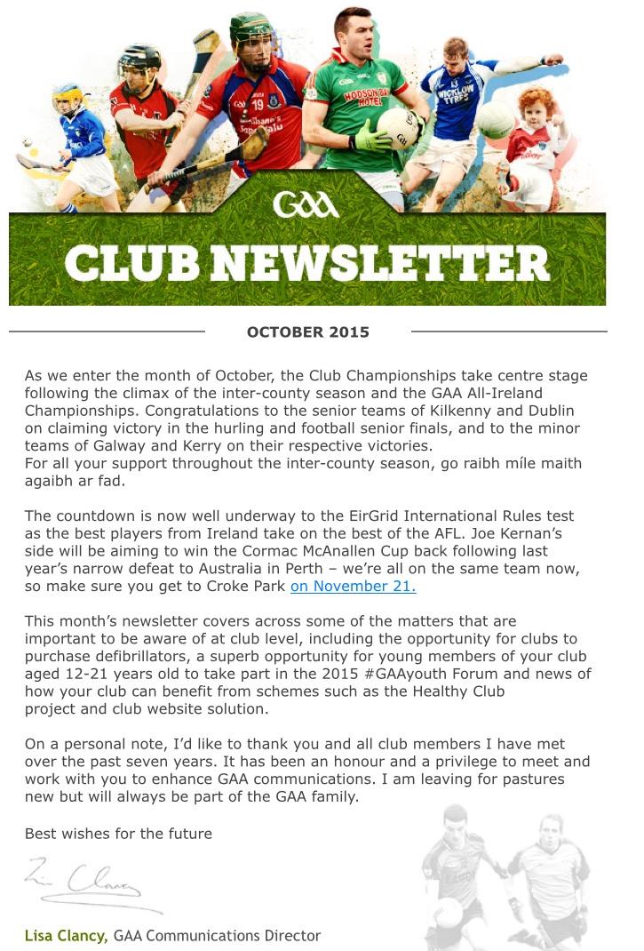 Club newsletter for october