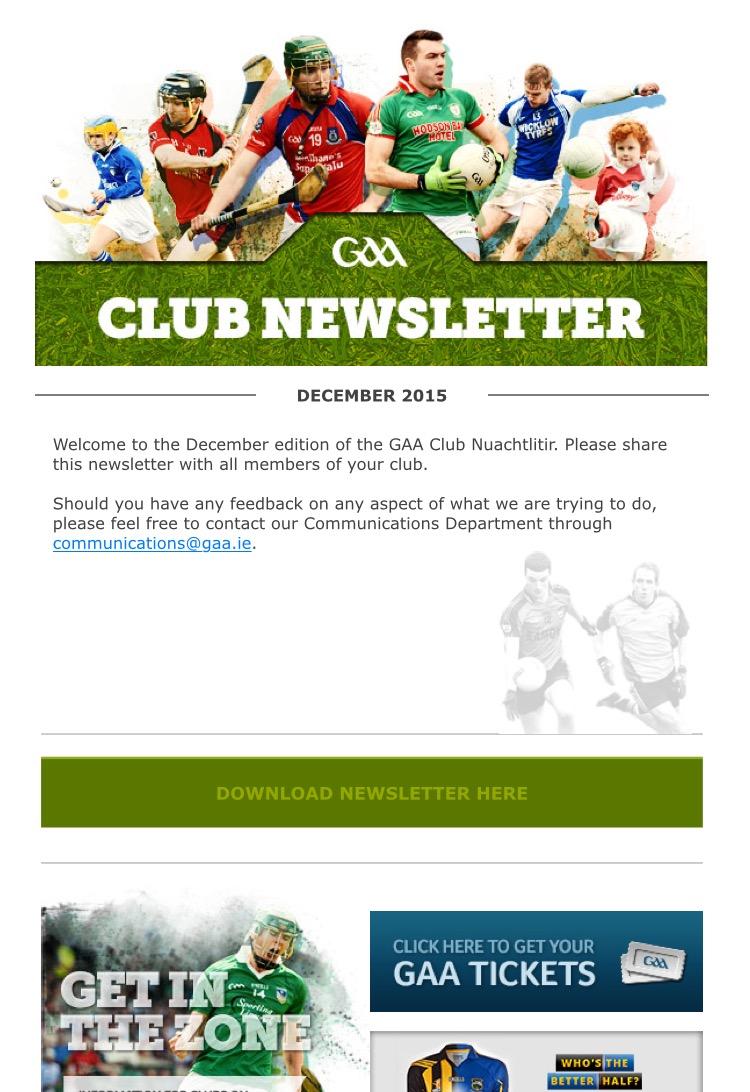 gaa Club newsletter for june
