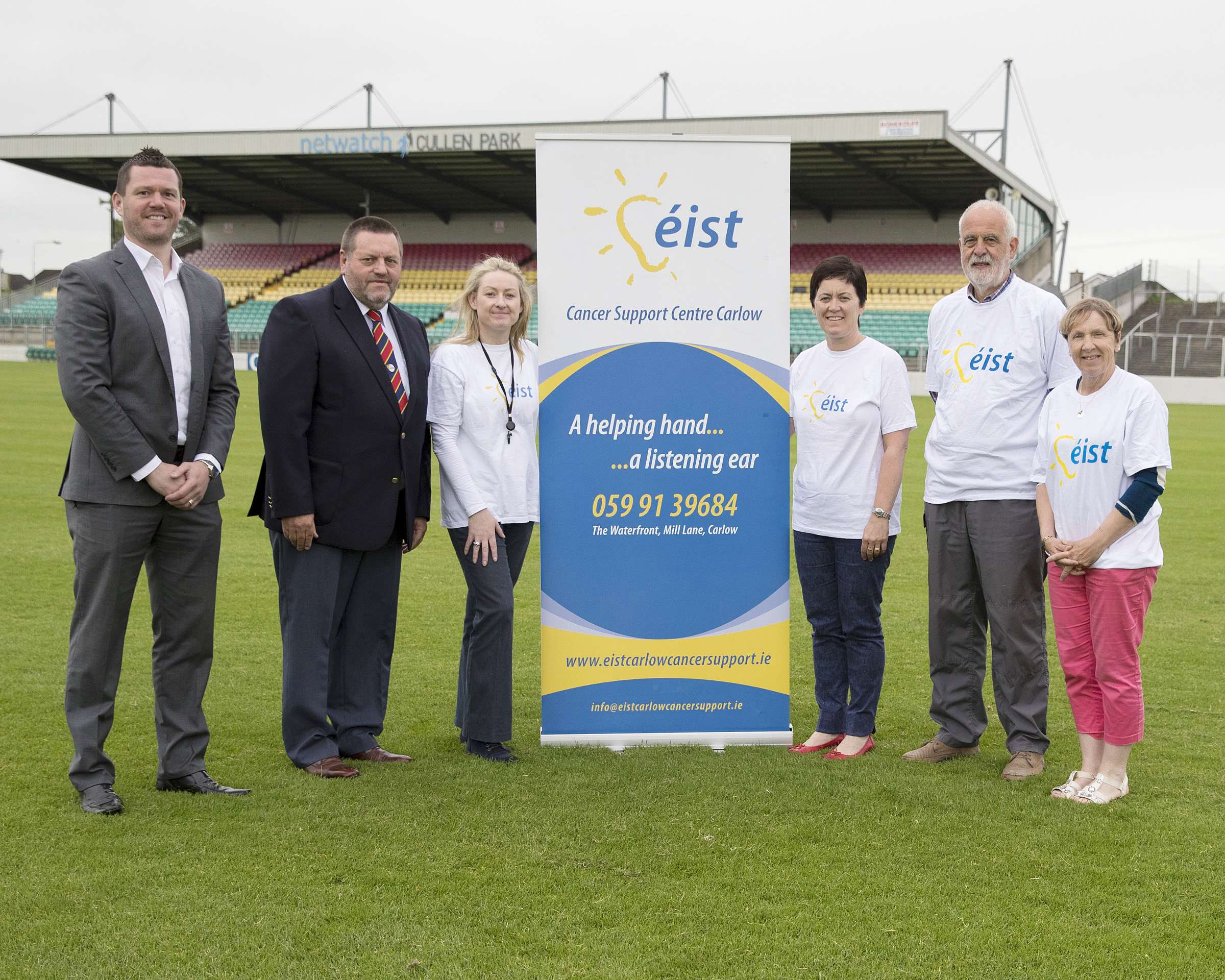 Ronan Dempsey Operations Manager, Sean Campion Chairman Carlow County Board, Valerie Byrne Service Manager, Margaret Curran Chairperson Board of Management , Dick Murray and Mary Smyth. Photo: Thomas Nolan Photography.