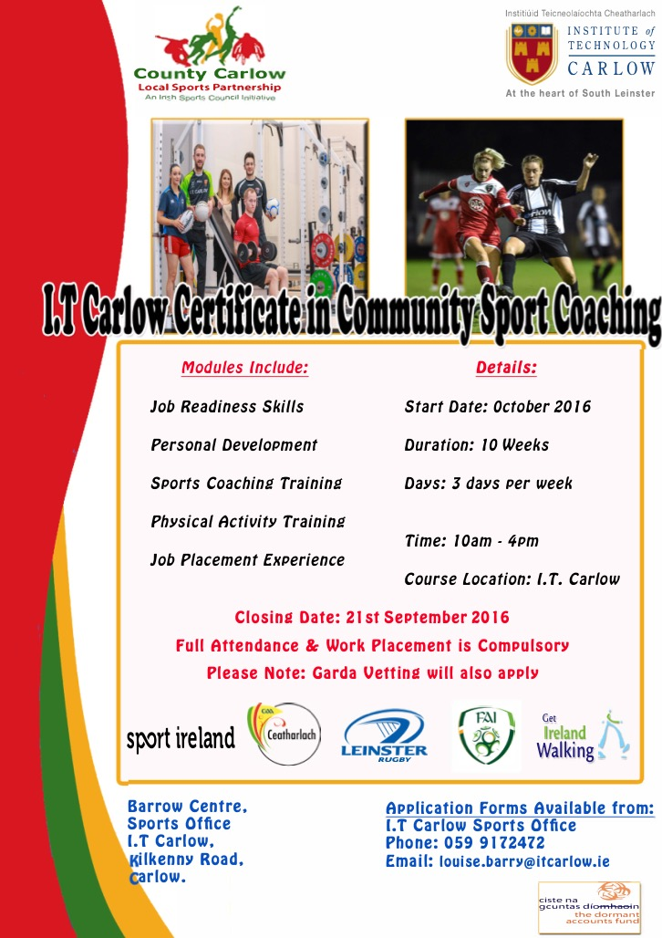 community sports coaching course in it carlow